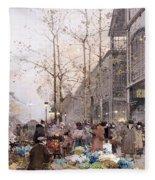 Les Halles And St. Eustache Fleece Blanket