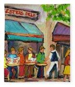 Lester's Deli Montreal Cafe Summer Scene Fleece Blanket
