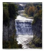 Letchworth State Park Middle Falls With Watercolor Effect Fleece Blanket