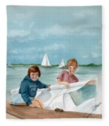 Let's Go Sailing  Fleece Blanket