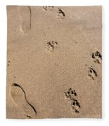 Footprints Mans Best Friend Fleece Blanket