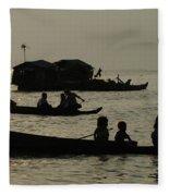 Life On Lake Tonel Sap Fleece Blanket