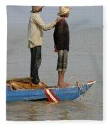 Life On Lake Tonle Sap 4 Fleece Blanket