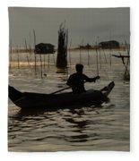 Life On Lake Tonle Sap 7 Fleece Blanket