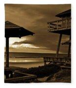 World War II Coastal Watchtower Fleece Blanket