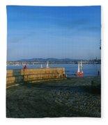 Light House At A Harbor, County Dublin Fleece Blanket