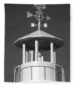 Light House On Coney Island In Black And White  Fleece Blanket