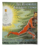 Lightbulb Ad, 1900 Fleece Blanket