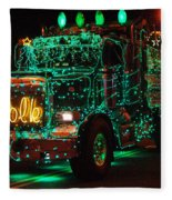 Lighted Green Dumptruck Fleece Blanket