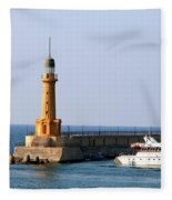 Lighthouse Along The Corniche Fleece Blanket