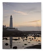 Lighthouse At Low Tide Fleece Blanket