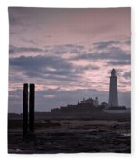 Lighthouse At Low Tide II Fleece Blanket