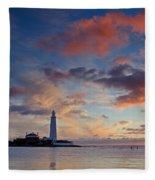 Lighthouse At Sunrise Fleece Blanket