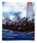 Lighthouse Blues Painterly Style Fleece Blanket