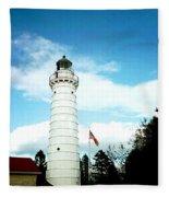 Lighthouse In Door County Fleece Blanket