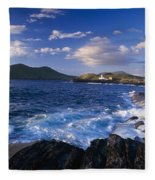 Lighthouse In The Distance, Fort Point Fleece Blanket