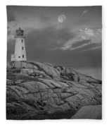 Lighthouse In The Moonlight At Peggy's Cove Nova Scotia Canada Fleece Blanket