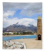Lighthouse On Costa Del Sol In Spain Fleece Blanket