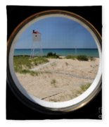Lighthouse Window To Lake Fleece Blanket