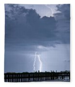 Lightning At The Pier Fleece Blanket