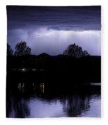 Lightning Over Coot Lake Fleece Blanket