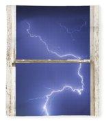 Lightning Strike White Barn Picture Window Frame Photo Art  Fleece Blanket