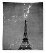 Lightning Strikes Eiffel Tower, 1902 Fleece Blanket