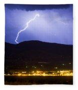 Lightning Striking Over Ibm Boulder Co 1 Fleece Blanket