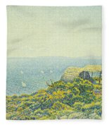 L'ile Du Levant Vu Du Cap Benat Fleece Blanket