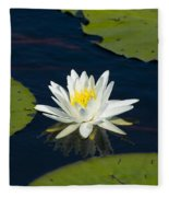 Lily Pad And Flower Fleece Blanket