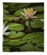 Lily Pads And Blossoms. No186 Fleece Blanket
