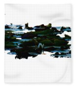 Lily Pads On White Water Fleece Blanket