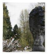 Lion Sculpture Fleece Blanket