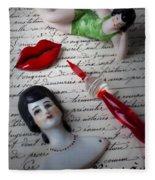 Lips Pen And Old Letter Fleece Blanket