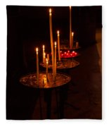 Lit Candles In A Church Fleece Blanket