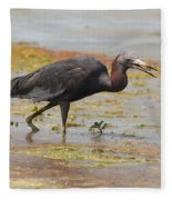 Little Blue Heron In Swamp Fleece Blanket
