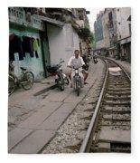 Living By The Tracks In Hanoi Fleece Blanket