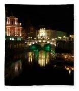 Ljubljana By Night Fleece Blanket
