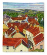 Painting Llandovery Roof Tops Fleece Blanket