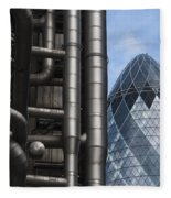 Lloyds Of London And The Gherkin Building Fleece Blanket
