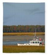 Lobster Boat Along Maine Fleece Blanket