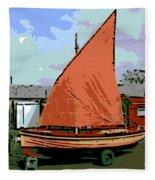 Lobster Boat Fleece Blanket