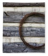 Log Cabin And Barbed Wire Fleece Blanket