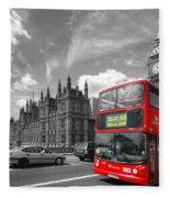 London Big Ben And Red Bus Fleece Blanket