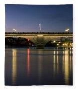 London Bridge At Dusk Fleece Blanket