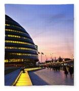 London City Hall At Night Fleece Blanket