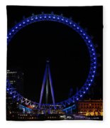 London Eye All Done Up In Blue Light In The Night With A Small Reflection In The Thames Fleece Blanket