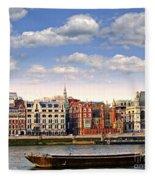 London Skyline From Thames River Fleece Blanket