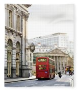 London Street With View Of Royal Exchange Building Fleece Blanket