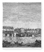 London: Waterfront, 1750. /nlondon Bridge And Dyers Wharf. Wood Engraving After A Painting By S. Scott, C1750 Fleece Blanket